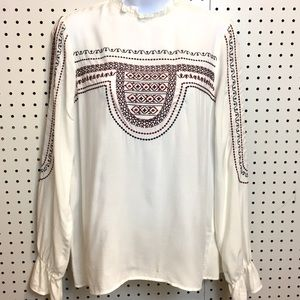 Zara Boho Embroidered Long Sleeve Tunic Small